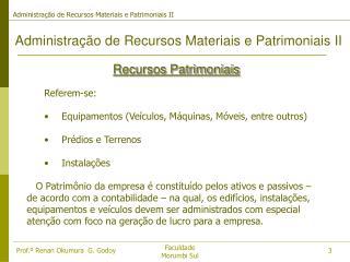 Administra��o de Recursos Materiais e Patrimoniais II
