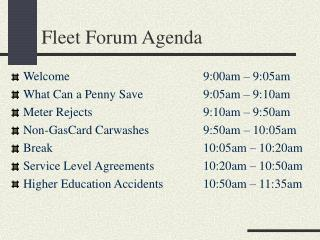 Fleet Forum Agenda