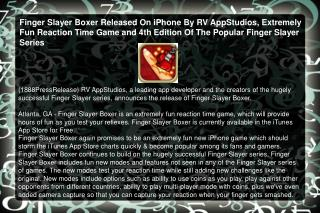 Finger Slayer Boxer Released On iPhone By RV AppStudios, Ext