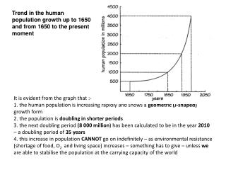 Trend in the human population growth up to 1650 and from 1650 to the present moment