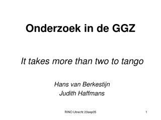Onderzoek in de GGZ