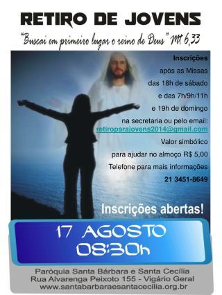 Inscrições  após as Missas das 18h de sábado e das 7h/9h/11h e 19h de domingo