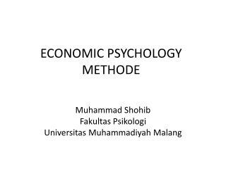 ECONOMIC PSYCHOLOGY METHODE