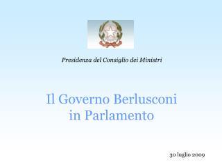 Il Governo Berlusconi  in Parlamento
