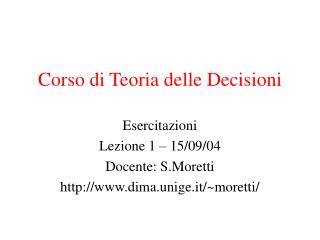 Corso di Teoria delle Decisioni