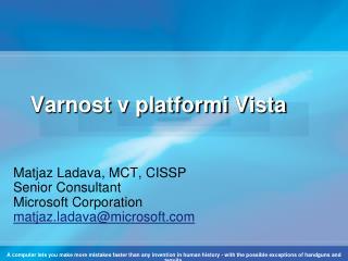 Varnost v platformi  Vista