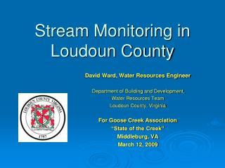 Stream Monitoring in  Loudoun County