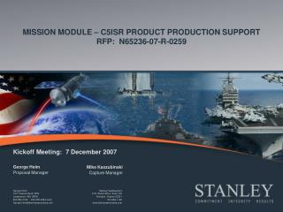 MISSION MODULE – C5ISR PRODUCT PRODUCTION SUPPORT RFP:  N65236-07-R-0259