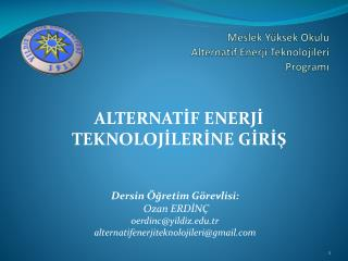Meslek Yüksek Okulu  Alternatif Enerji Teknolojileri Programı