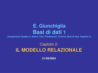 Capitolo 2:  IL MODELLO RELAZIONALE 21/09/2004