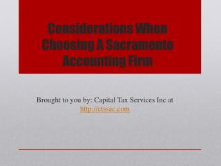Considerations When Choosing A Sacramento Accounting Firm