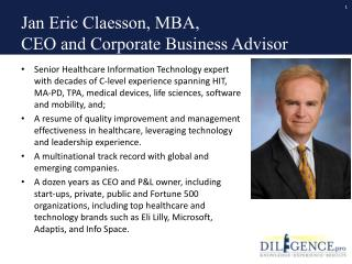 Jan Eric Claesson, MBA,  CEO and Corporate Business Advisor