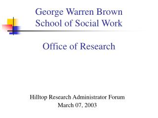 George Warren Brown School of Social Work Office of Research