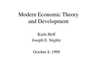 Modern Economic Theory  and Development