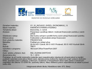 Označení materiálu:  VY_32_INOVACE_EKRZU_EKONOMIKA3_13