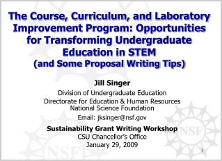 Jill Singer Division of Undergraduate Education