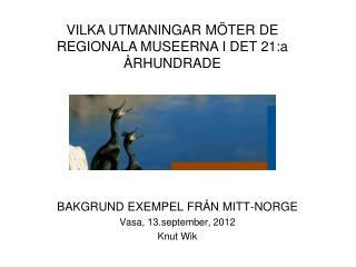 BAKGRUND EXEMPEL FRÅN MITT-NORGE Vasa, 13.september, 2012 Knut Wik