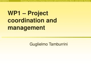 WP1 – Project coordination and management