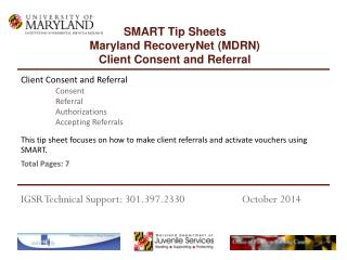 This tip sheet focuses on how to make client referrals and activate vouchers using SMART.
