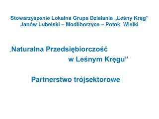 """Stowarzyszenie Lokalna Grupa Działania """"Leśny Krąg"""" Janów Lubelski – Modliborzyce – Potok  Wielki"""