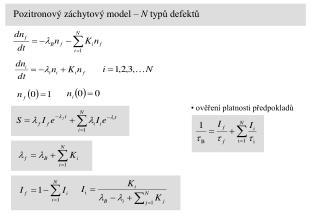 Pozitronový záchytový model –  N  typů defektů