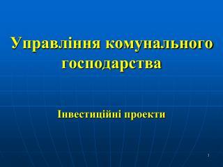 Управління комунального господарства Інвестиційні проекти
