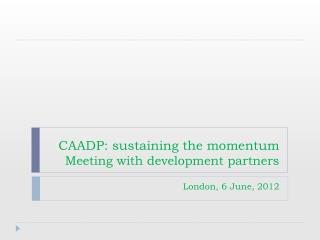 CAADP: sustaining the momentum Meeting with development partners