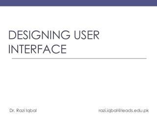 Designing user interface
