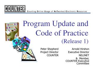 Program Update and Code of Practice  (Release 1)