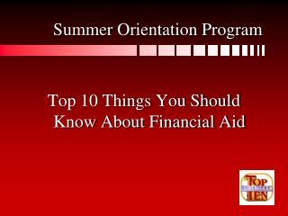 Summer Orientation Program