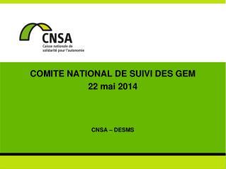 COMITE NATIONAL DE SUIVI DES GEM 22 mai 2014 CNSA – DESMS