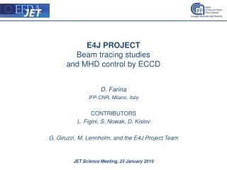E4J PROJECT Beam tracing studies  and MHD control by ECCD