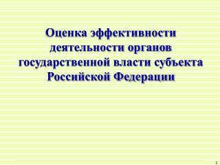 Оценка эффективности  деятельности органов  государственной власти субъекта  Российской Федерации