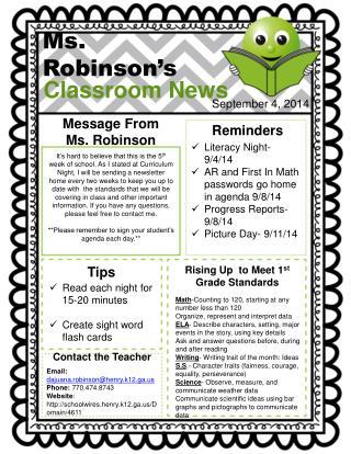 Ms .  Robinson 's
