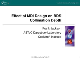 Effect of MDI Design on BDS Collimation Depth