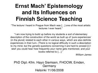 Ernst Mach  Epistemology  and Its Influences on  Finnish Science Teaching