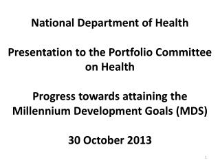 MDG REPORT TO THE UN