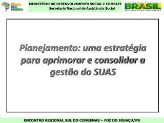 Planejamento: uma estratégia para aprimorar e consolidar a gestão do SUAS