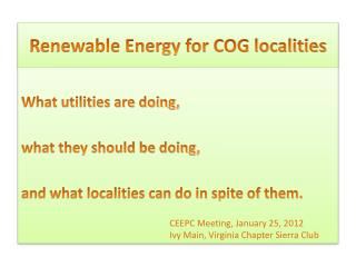 Renewable Energy for COG localities