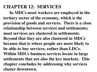 CHAPTER 12:  SERVICES