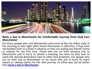 Company Profile of Club Cars Manchester