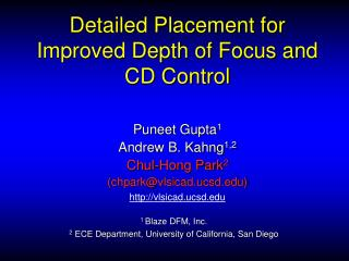 Detailed Placement for Improved Depth of Focus and CD Control