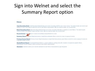 Sign into Welnet and select the  Summary Report option