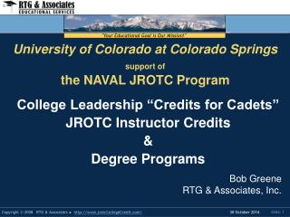 University of Colorado at Colorado Springs support of the NAVAL JROTC Program