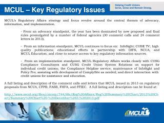 MCUL � Key Regulatory Issues