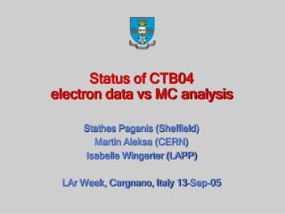 Status of CTB04  electron data vs MC analysis