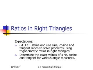 Ratios in Right Triangles