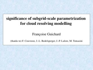 significance of subgrid-scale parametrization  for cloud resolving modelling