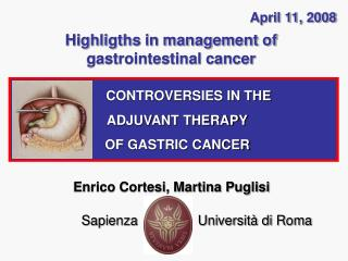 Highligths in management of gastrointestinal cancer
