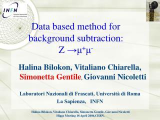 Data based method for background subtraction: Z  → μ + μ -